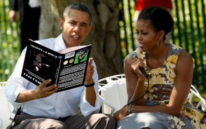 obama with book